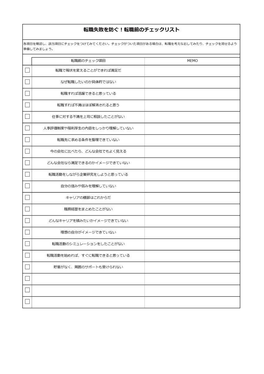 転職前のチェックリスト